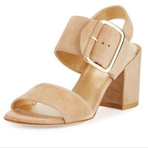 Stuart Weitzman City Sandal Beige Suede Heel 6.5